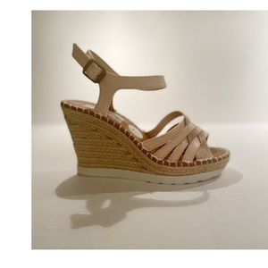 Sugar Two Tone Wedges Tan l Gold Ankle Strap